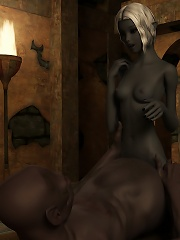 3D Lesbian gets sucked and cums