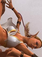 Slut 3D Belle giving head to 3D Sex expert as poked