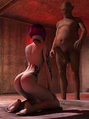 Sexy Yuri Girl slams sensual 3D Dude as pumped