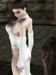Luscious 3D Brunette gets tits jizzed