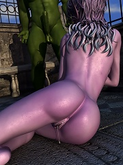 Girl gets assdrilled from behind by 3D Cyclop