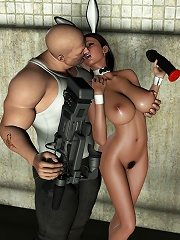 3D Hussy with hard dildo is railed