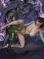 3D Belle with red strap-on getting a gangbang