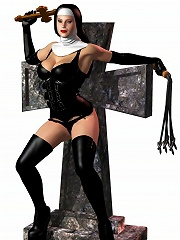 Virgin Beauty with perky boobs sucks on 3D Devil