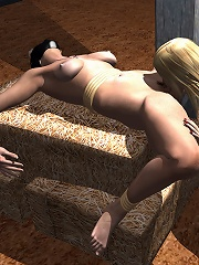 3D Babe cums as beads are shoved in her small anus