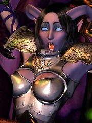 Sweetheart masturbates and deals with Hentai Demon