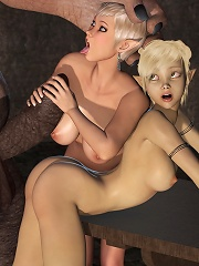 Toon Honey feeling 3d Tentacle and taking load