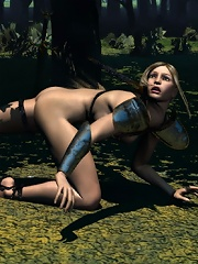 Best Girl loving Hentai Ghoul and cumming outdoors