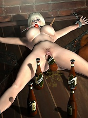 Cock crazed 3D Maid taking skirt off and sucking