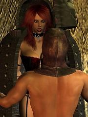 Hentai Porncraft Girl is fucked between her boobs