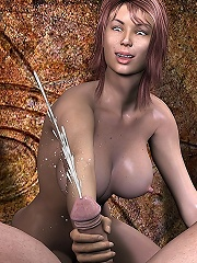3D Honey with firm juggs blowjobs